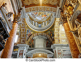 inneneinrichtung, basilika, peters, heilige, vatikan