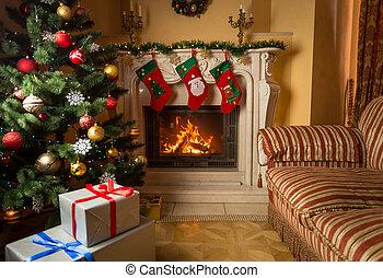 inneneinrichtung, bild, von, wohnzimmer, mit, brennender, kaminofen, dekoriert, weihnachtsbaum