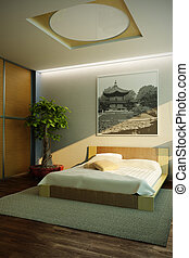 inneneinrichtung, japan, stil, schalfzimmer