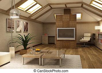 inneneinrichtung, mezzanine, rmodern, 3d
