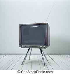 inneneinrichtung, mit, altes , fernsehapparat
