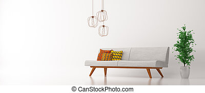 inneneinrichtung, mit, sofa, aus, weißes, panorama, 3d, übertragung
