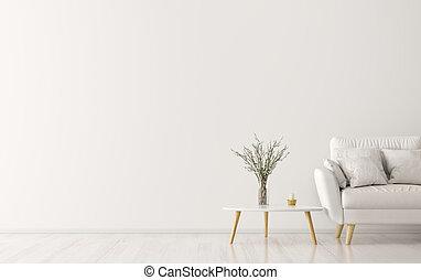 inneneinrichtung, mit, sofa, und, couchtisch, 3d, übertragung