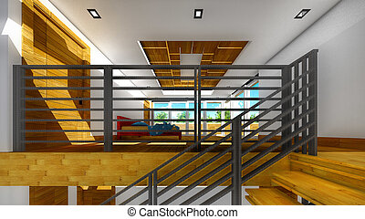 inneneinrichtung, modern, -, treppenaufgang