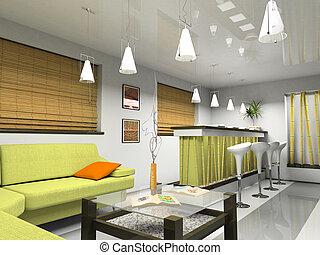 inneneinrichtung, sofa, bambus, grün, jalousie