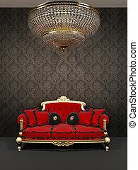 inneneinrichtung, sofa, kronleuchter, königlich, rotes