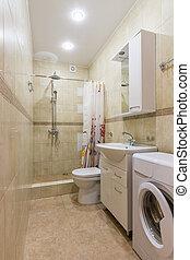 inneneinrichtung, von, a, badezimmer, a, kombiniert, toilette, und, dusche