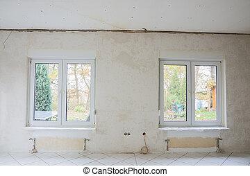 inneneinrichtung, von, a, zimmer, unter, renovierung