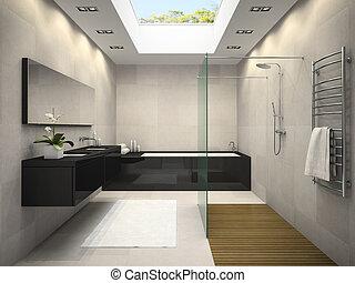 inneneinrichtung, von, badezimmer, mit, decke, fenster, 3d, übertragung