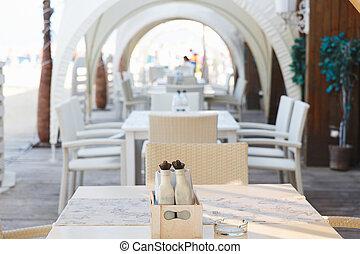 inneneinrichtung, von, cafe-restaurant, strand