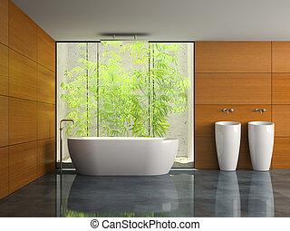 Nischen, badezimmer, wand, abbildung, inneneinrichtung, 3d Clipart ...