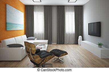 inneneinrichtung, von, der, modern, dachgeschoss, mit, orange, wand