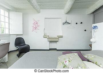 inneneinrichtung, von, der, weißes, rustic, bedroom.