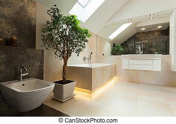Inneneinrichtung, -, badezimmer, wohnung, modern.