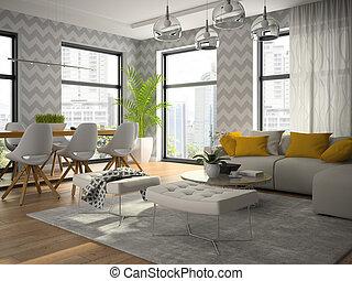 Inneneinrichtung, Von, Modern, Design, Zimmer, Mit, Grau, Tapete,
