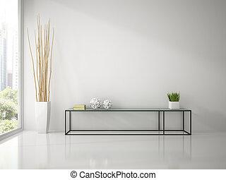 inneneinrichtung, von, modern, weißes zimmer, mit, konsole, sofa, 3d, übertragung