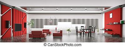 inneneinrichtung, von, modern, wohnung, panorama, 3d, render