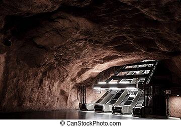 inneneinrichtung, von, radhuset, station, stockholm, metro