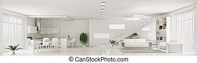 inneneinrichtung, von, weißes, wohnung, panorama, 3d, render