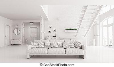 inneneinrichtung, von, weißes, wohnzimmer, mit, sofa, 3d, übertragung