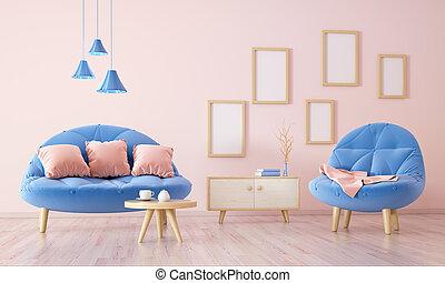 inneneinrichtung, von, wohnzimmer, mit, sessel, 3d, übertragung