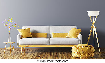 inneneinrichtung, von, wohnzimmer, mit, sofa, 3d, übertragung