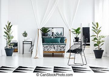 inneneinrichtung, weißes, geräumig, schalfzimmer