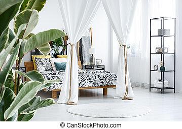 inneneinrichtung, weißes, schalfzimmer, vorhänge