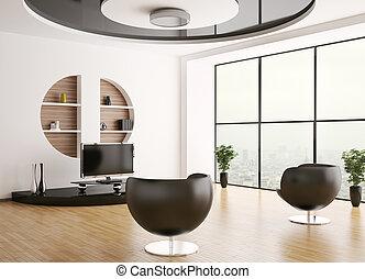 inneneinrichtung, wohnzimmer, 3d
