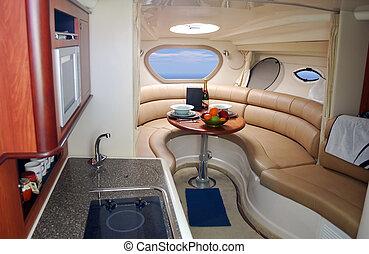 inneneinrichtung, yacht, luxus