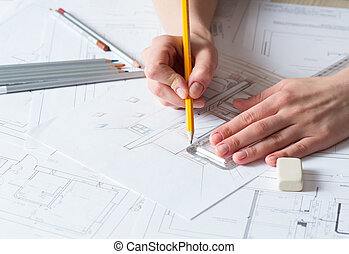 inneneinrichtung, zeichnung, details, hand