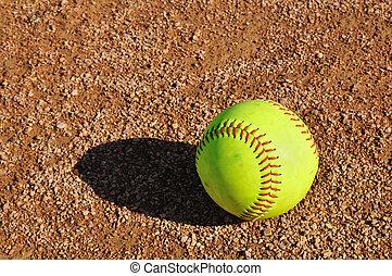 innenfeld, gelber , softball
