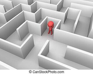 innenseite, mann, verloren, labyrinth, 3d