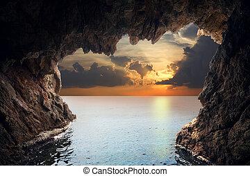 innenseite, steigend, grotte
