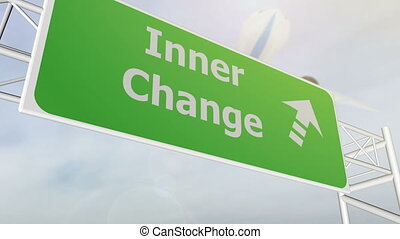 Inner change concept road sign on highway - Inner change...