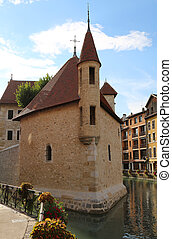Inner city of Annecy in france and the old house