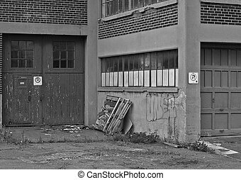 Inner City SCene - Black and white photo of an inner city...
