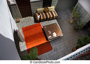 Inner courtyard of a typical Moroccan riad