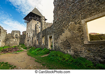 inner courtyard with main tower of Nevytsky castle ruins....