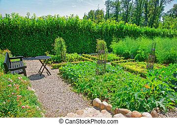 Inner garden in Yverdon in Jura Nord Vaudois Vaud...