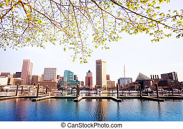 Inner Harbor and Baltimore skyline, in spring, USA