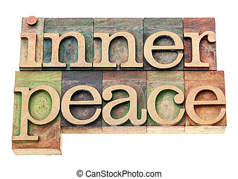 inner peace in wood type - inner peace - isolated text in...