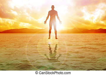 Silhouette illustration of human figure floating on water