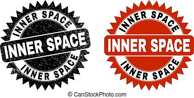 INNER SPACE Black Rosette Stamp with Unclean Surface