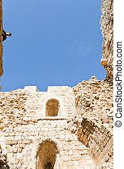 inner stone wall of tower in Kerak castle, Jordan