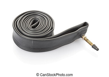 Inner tube for bike - Inner tube isolated on white, clipping...
