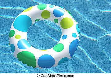 Inner Tube in Swimming Pool - Fun inner tube with polka dots...
