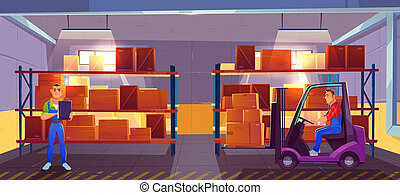 Inner view of warehouse interior, logistics, stock