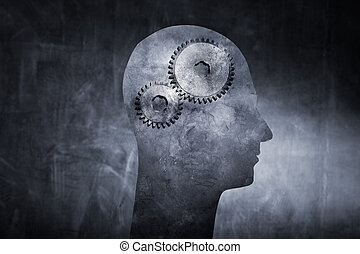 Inner Workings - Conceptual image of a head with cog gears...