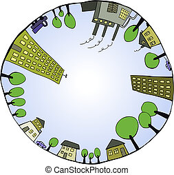 Global world as closed ecological system. Vector illustration